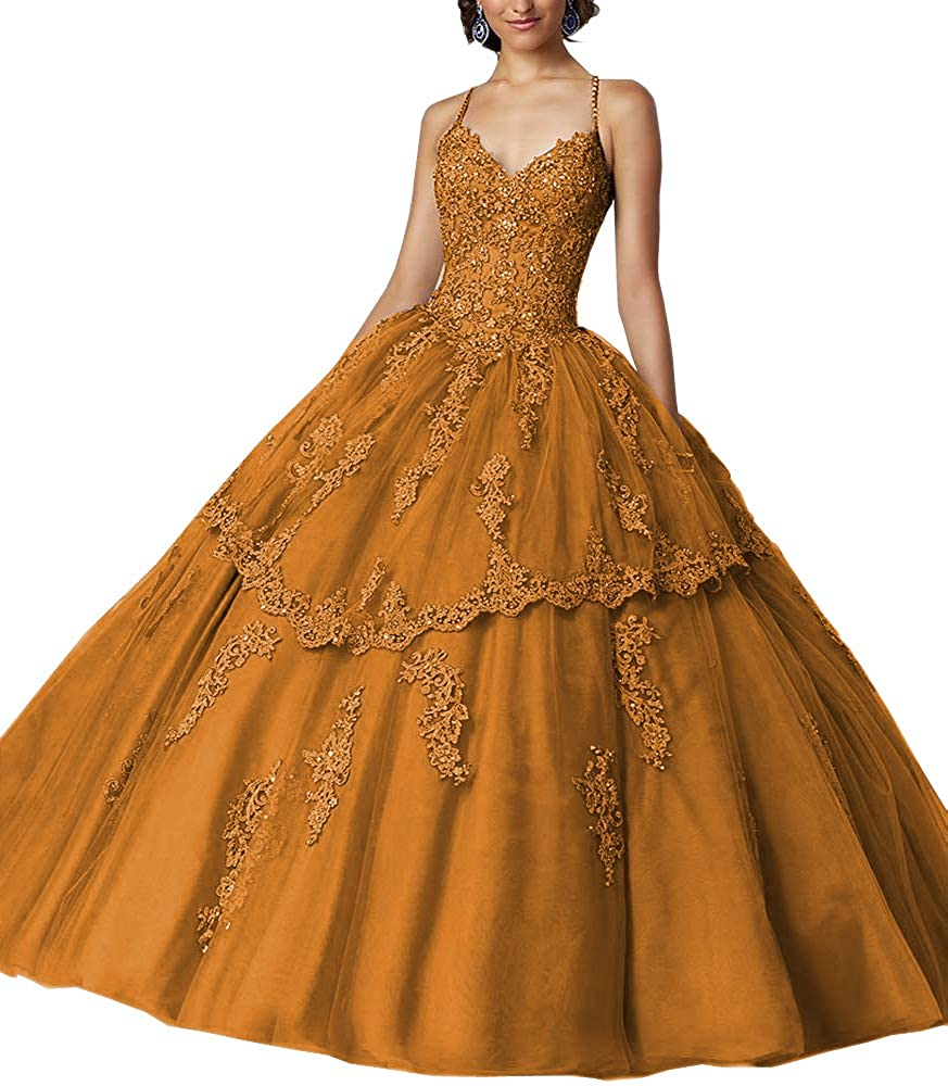 gold Sweet Bridal Women's Long Spaghetti Straps Open Back Beaded Lace Appliques Quinceanera Dresses Ball Gowns
