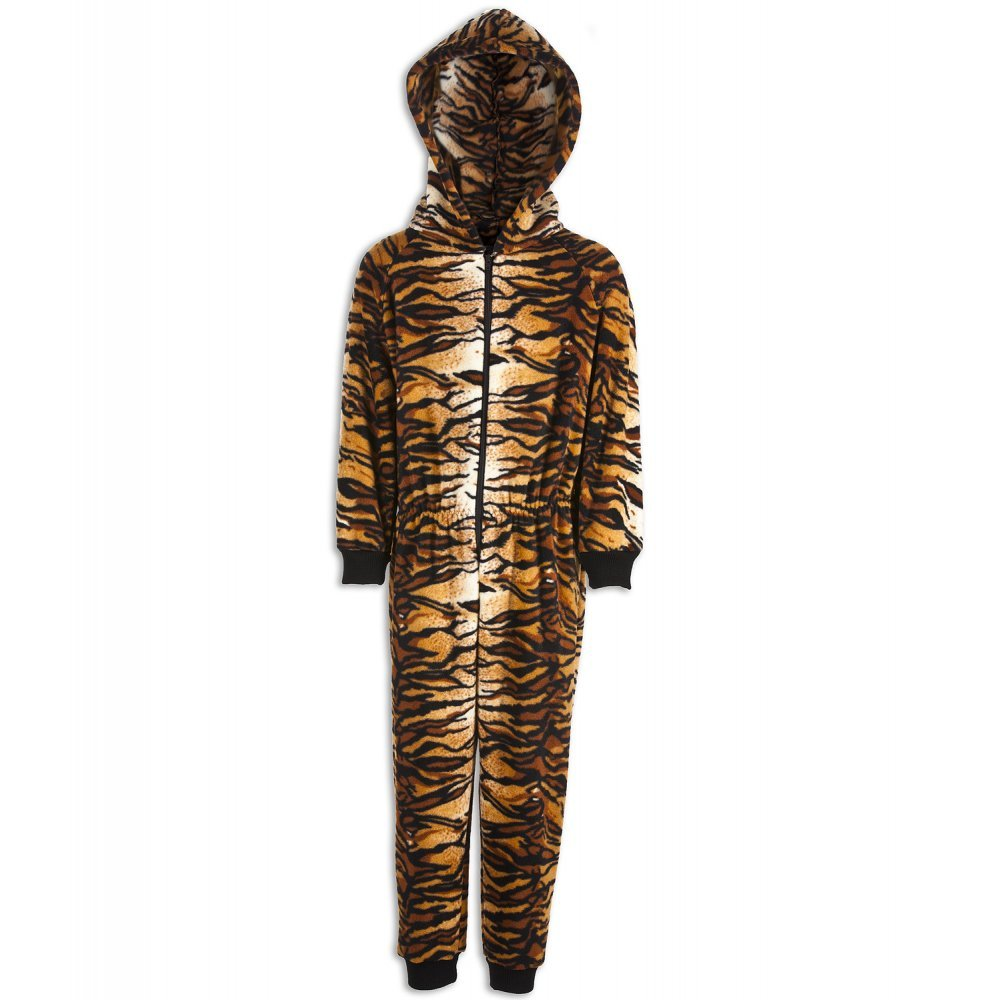 Camille Childrens Unisex Brown All In One Tiger Print Hooded Onesie