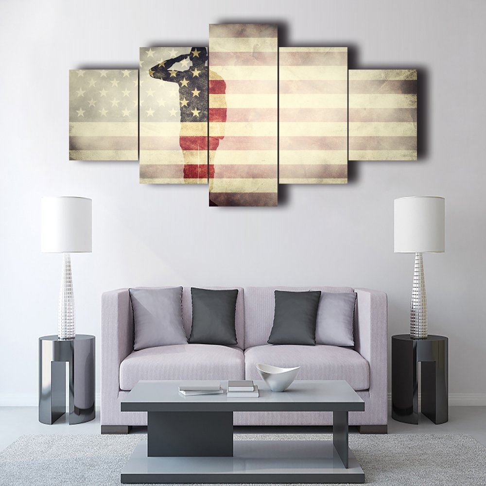 Vintage American Flag Military canvas Soldier Print art Independence ...