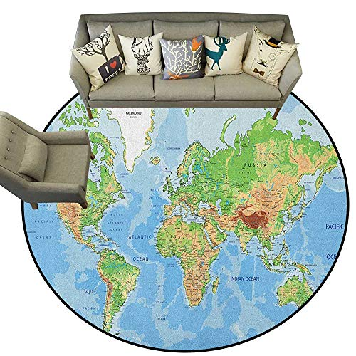 World Map,Floor Mat Topographic Map of The World Continents Countries Oceans Mountains Educational D60 Living Room Round Mats Area Rugs