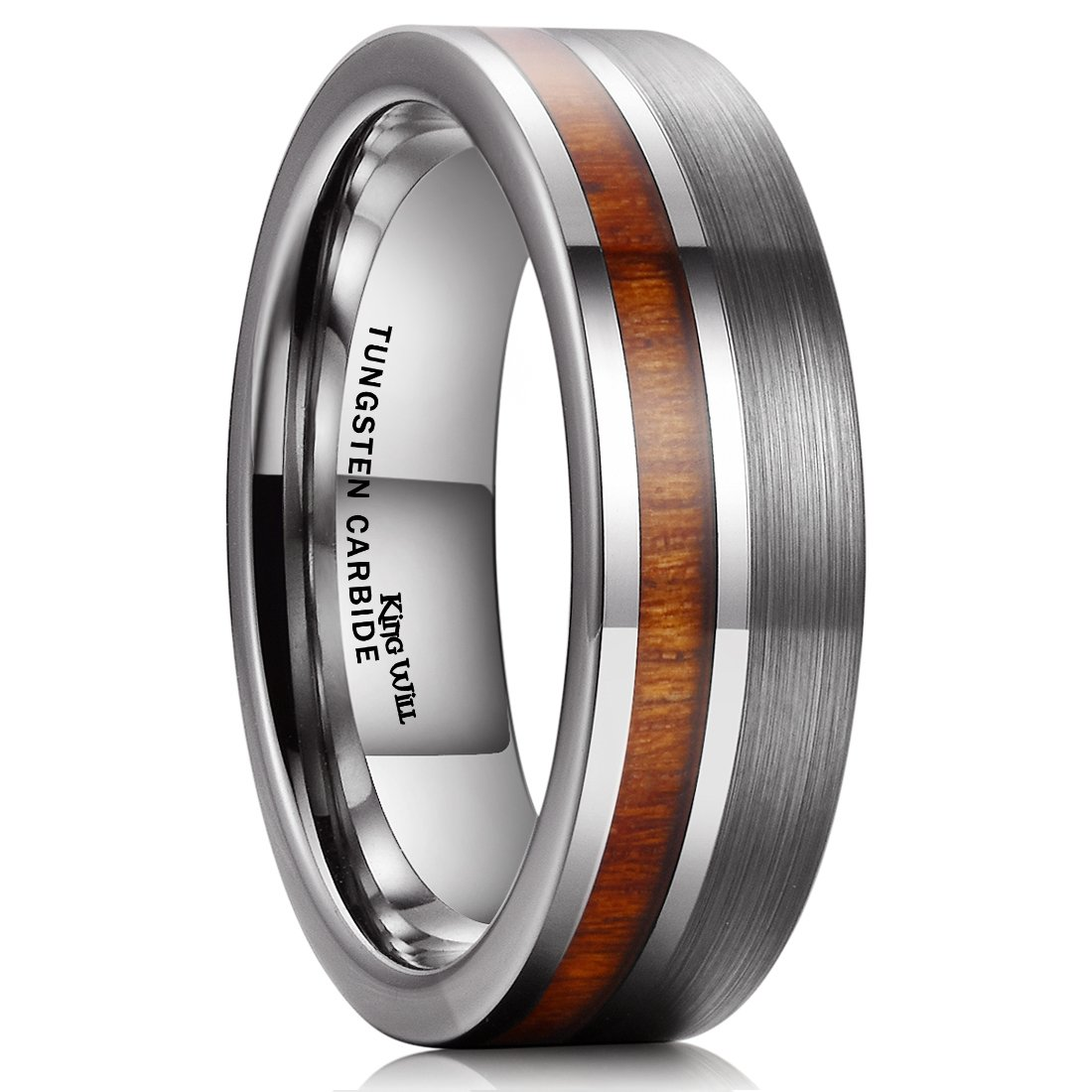 King Will Nature Tungsten Carbide Wedding Band 7mm Silver Brushed Ring with Wood Inlay Comfort Fit(10)