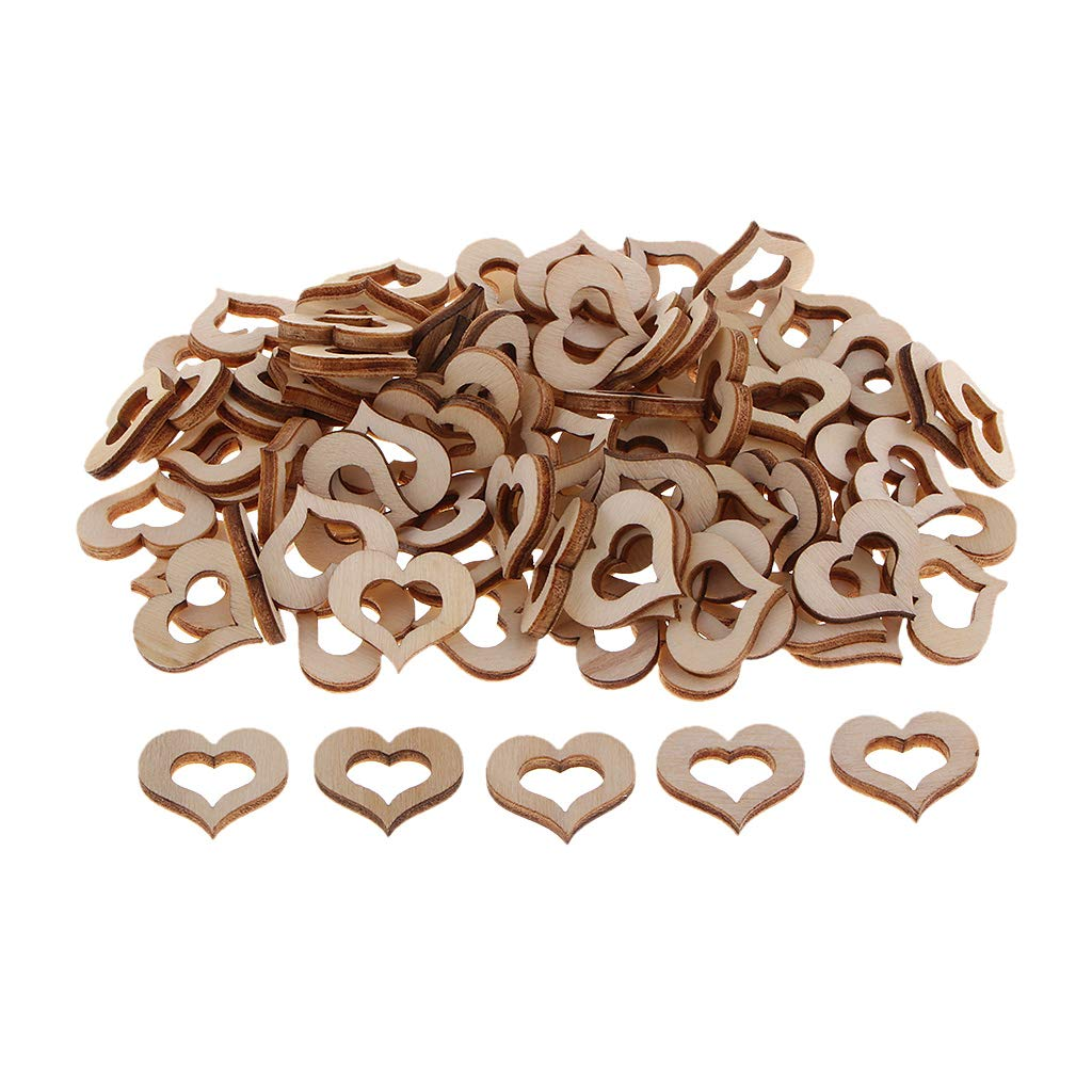 kesoto 100pcs Wooden Heart Embellishments Party Supplies Scrapbooking Cardmaking DIY Home Ornaments 2cm