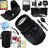 Sigma (509101) 70-300mm f/4-5.6 DG Macro Telephoto Zoom Lens for Canon SLR Cameras + 64GB Ultimate Filter & Flash Photography Bundle
