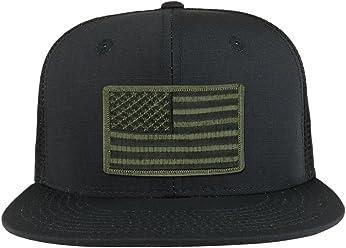 Black Olive American Flag Iron on Patch Flat Bill Ripstop Trucker Mesh Cap eb589083219