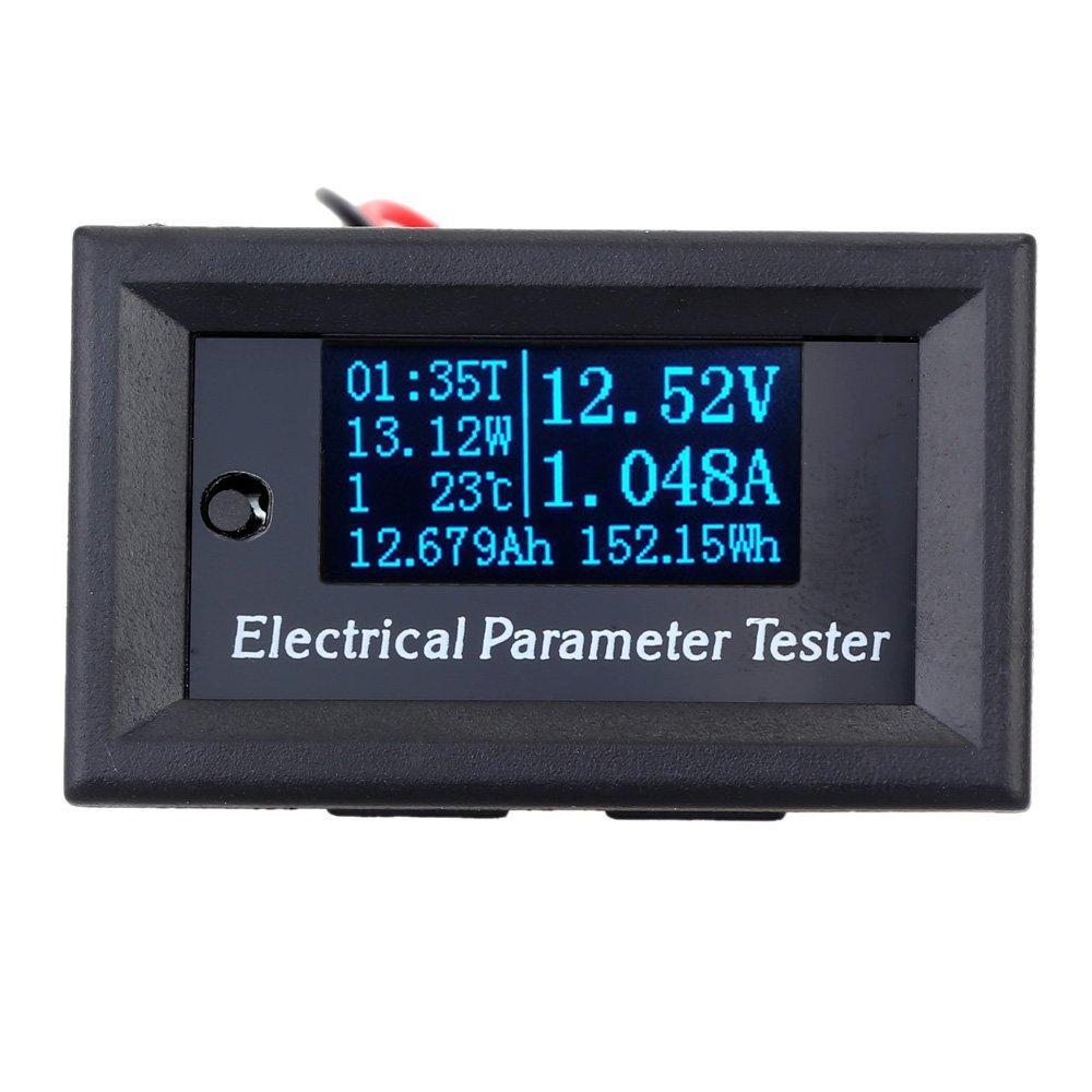 KKmoon Digital Amperemeter Voltmeter【7 in 1 Multimeter//100V 3A//OLED Mini Spannung Strom Zeit Energiekapazit/ät Meter//Elektrische Parameter Temperatur Tester//Blau Licht】