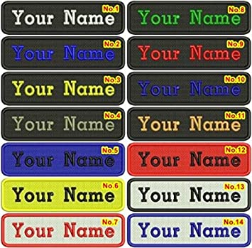 Rectangular 1 Line Custom Embroidered Name Tag Iron / Sew on Patch (Colors)