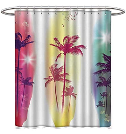 Tropical Shower Curtains Digital Printing Palm Trees Birds Seagulls Pattern Silhouette Surfboards Seascape Custom Made