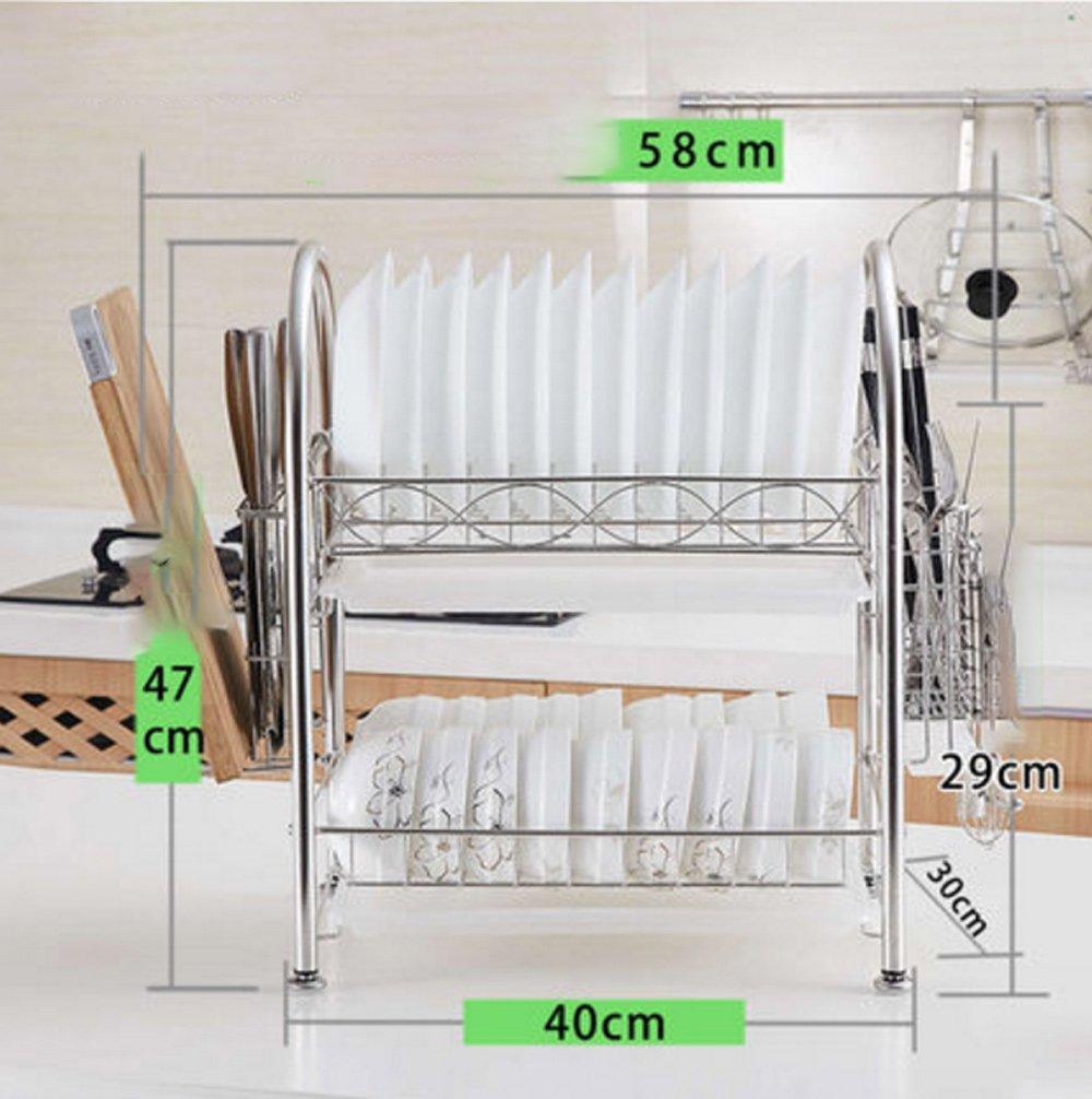 Hyun times 304 Stainless Steel Drain Rack Bowl Rack Double Bowl Chopsticks Rack Put Dry Dish Rack Storage Supplies Kitchen Shelf 2 Layer