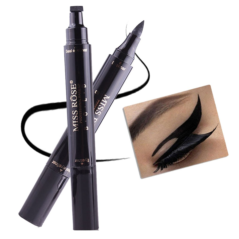 Lorjoy Miss Rose impermeabile liquido nero Eyeliner matita con bollo della guarnizione doppia testa alata Eyeliner