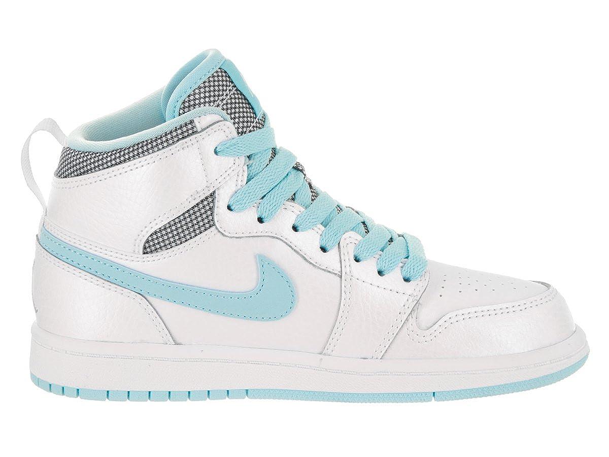 hot sales 74bd2 07ec0 Amazon.com   Jordan Nike Kids 1 Retro High GP White White Still Blue White  Basketball Shoe 11 Kids US   Shoes