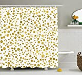 Polka Dot Curtains Ambesonne Polka Dots Home Decor Collection, Illustration of Golden Polka Dots Vintage Style Art Deco Pattern Bridal Decor, Polyester Fabric Bathroom Shower Curtain Set with Hooks, Gold White