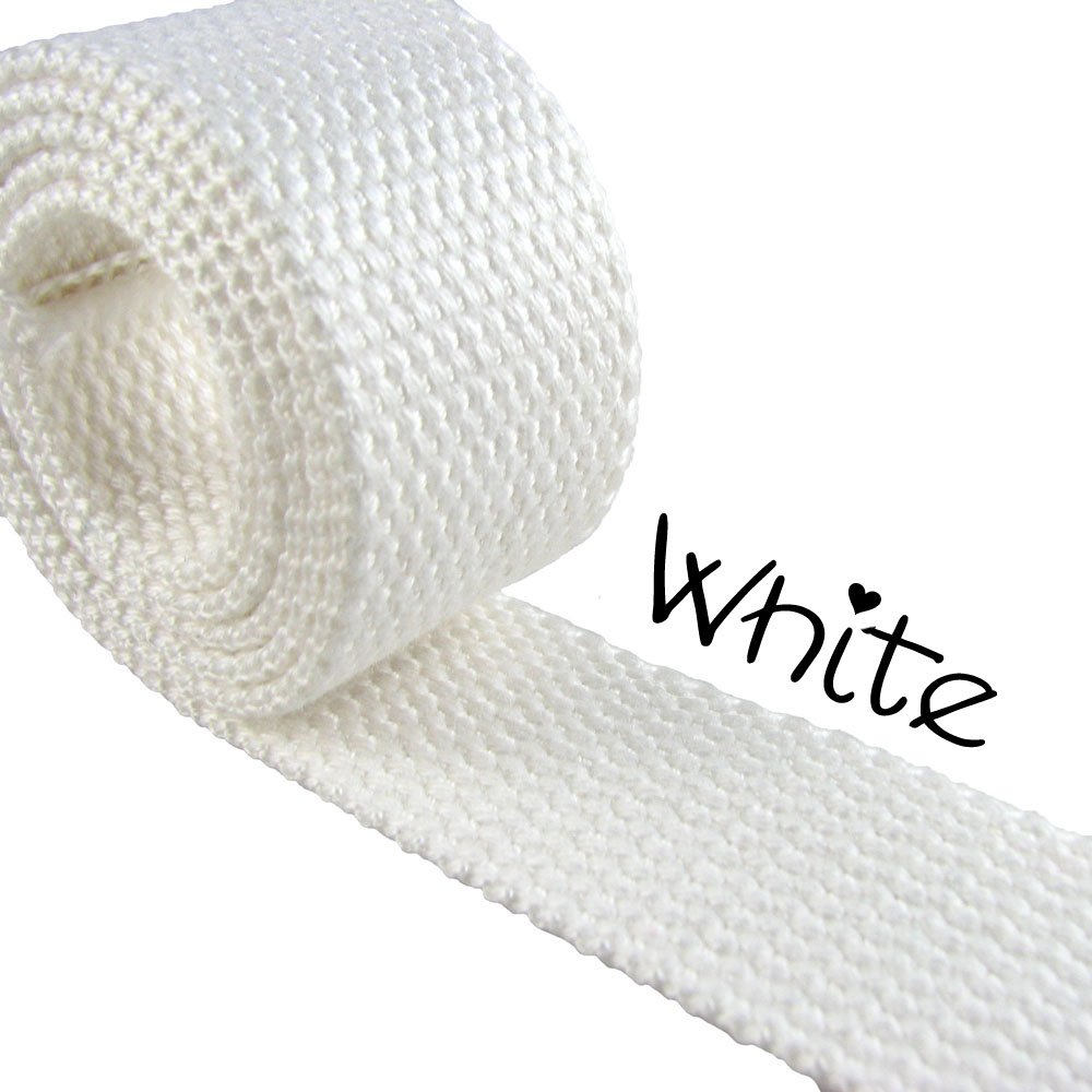 "5 Yard Cotton Webbing - 1 1/4"" Medium Heavy Weight - White"