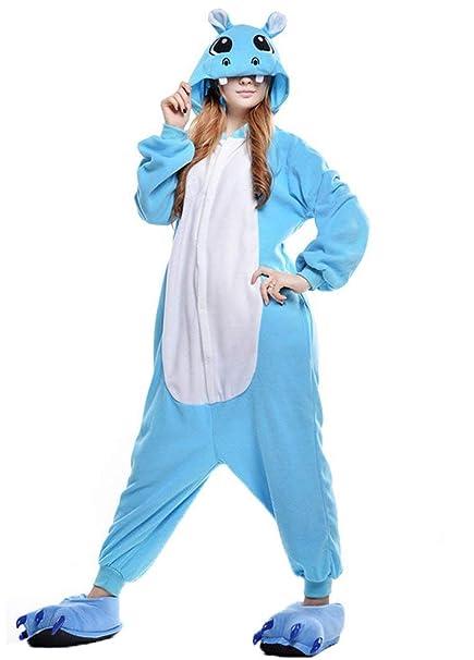 Unisex Animal Pijama Ropa de Dormir Cosplay Kigurumi Onesie Hipopótamo Azul Disfraz para Adulto Entre 1