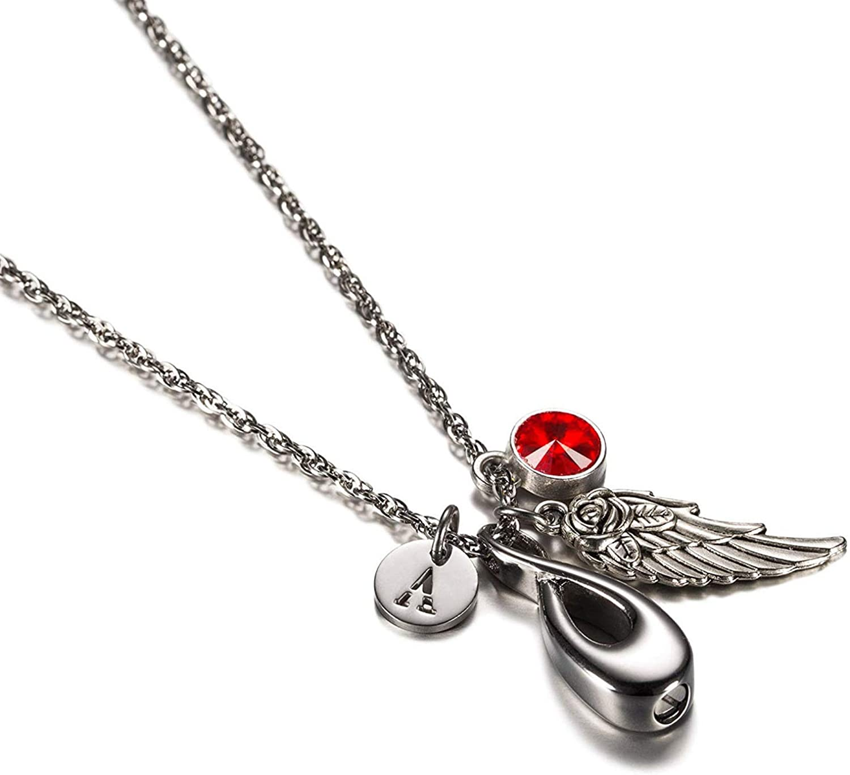 Epinki Acero Inoxidable Infinito 8 Flor de Rosa ala del ángel 26 Alfabeto Piedra del zodíaco Circonita Urna Collar para Recuerdo