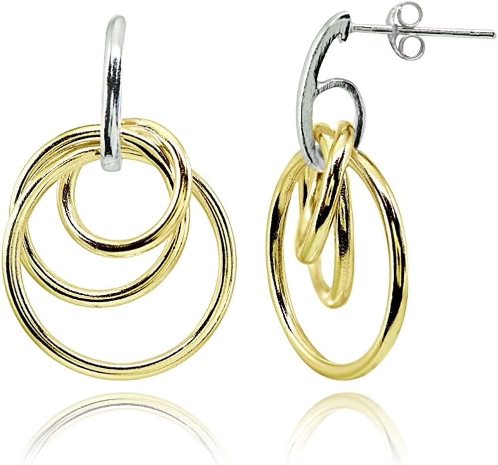 Sterling Silver Italian Triple Open Circle and Bead Dangle Earrings