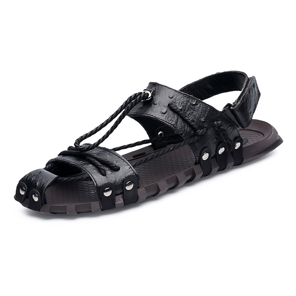 Sunny&Baby Sandalias de Playa para Hombres Zapatos de Lona de Cáñamo de Cuero Genuino Antideslizantes Resistente a la Abrasión 41 EU Negro