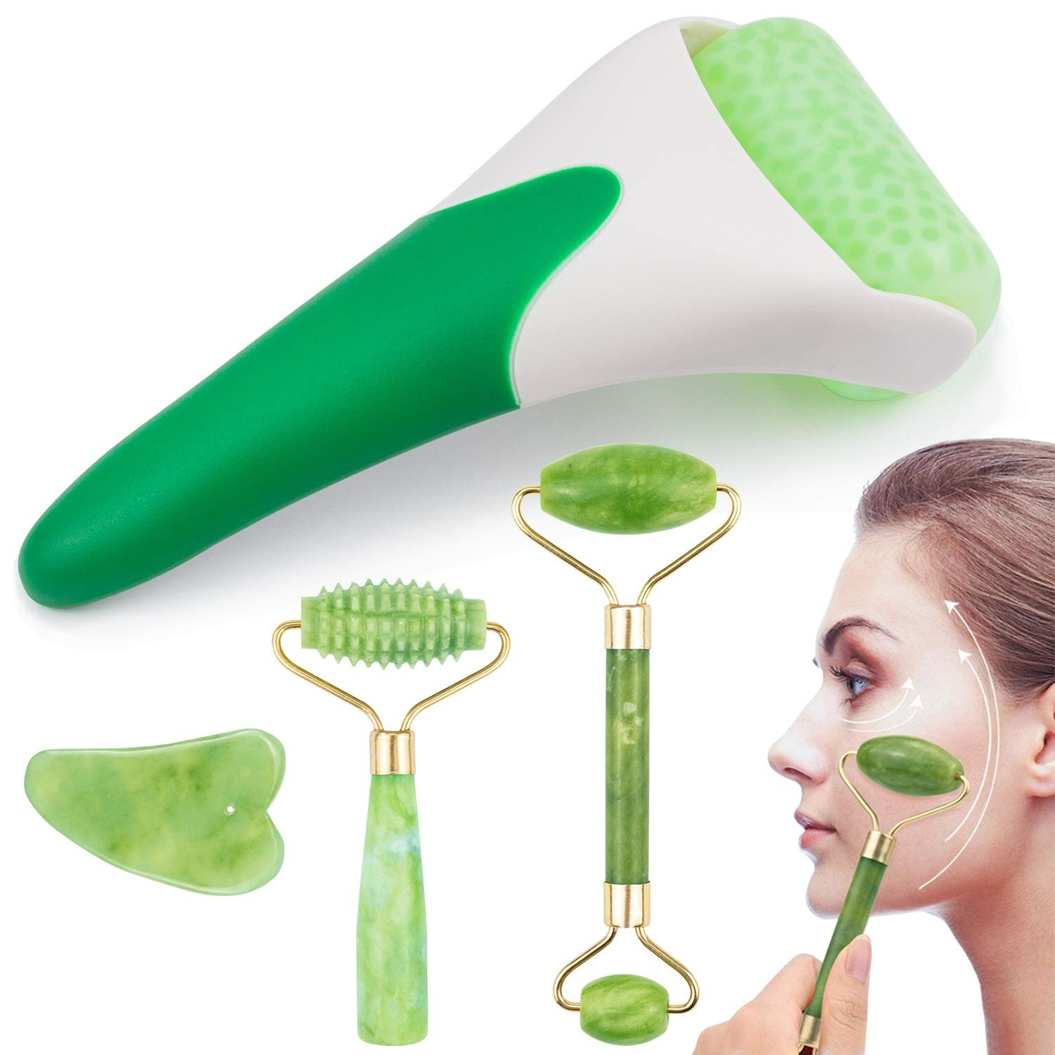 EAONE 4 in 1 Ice Roller Jade Roller Eyes Facial Massage Kits Skin Roller for Face Eyeball Neck Massage (1 Pc Cooling Roller, 1Pc Double Head Jade Roller, 1Pc Single Head Jade Roller, 1Pc Gua Sha Tool): Beauty