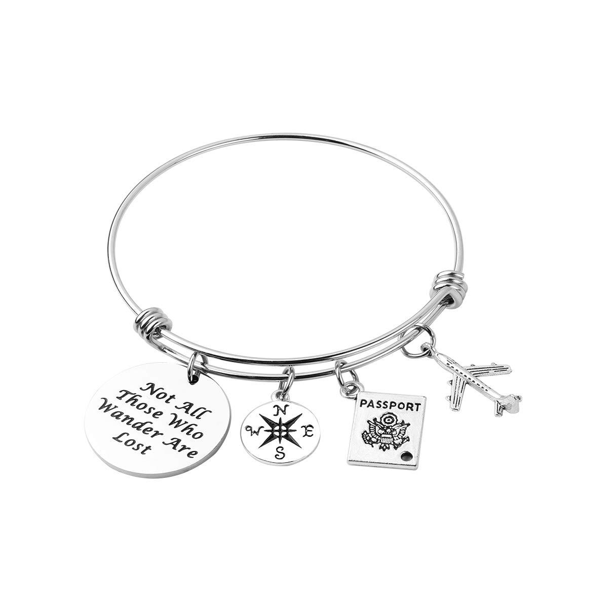 AZFEIYA Not All Those who Wander are Lost Bracelet Graduation Gift Adventure Bracelet Wanderlust Gift Traveler Bracelet (Silver Bracelet)