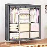 "House of Quirk 66"" Fabric Portable Wardrobe Storage Organizer - Grey"