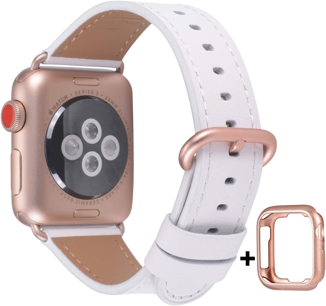 JSGJMY Leather Band Compatible with Apple Watch 38mm 40mm 42mm 44mm Women Men Strap for iWatch SE Series 6 5 4 3 2 1(White+Match SE/6/5/4/3 Rose Gold, 38mm/40mm S/M)