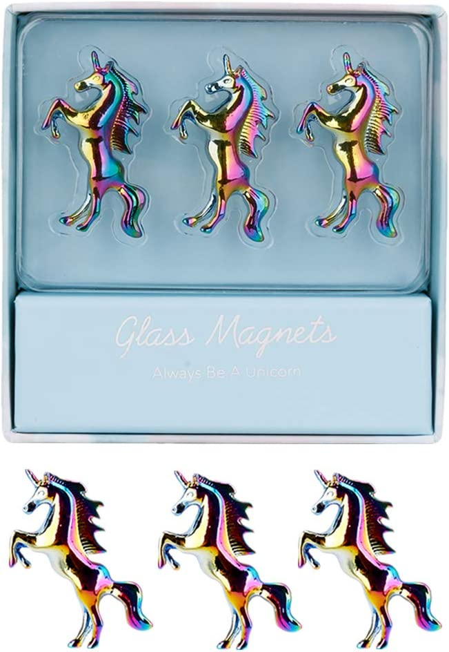 Rainbow Unicorn Fridge Magnets 3 Pack Unique 3D Pattern Metal Refrigerator Magnets Sticker for Home Kitchen Office Refrigerator Dry Erase Board and Whiteboard Gift Idea