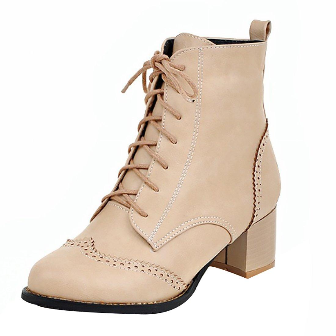 UH Damen Chunky Schnürung High Heels Stiefeletten Martin Boots mit Blockabsatz und Fell Bequeme Warm Schuhe  38 EU|Aprikose