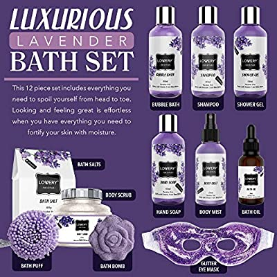 Valentine's Bath and Body Gift Basket For Women and Men – Hot and Cold Gel Eye Mask, Lavender and Jasmine Deluxe Christmas Home Spa Set with Bath Bombs, Massage Oil, Purple Wired Candy Dish and More