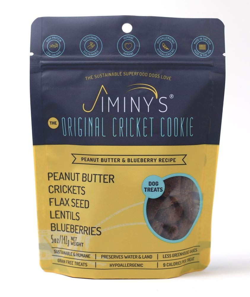 Jiminy's Cricket Predein Dog Treats, 5 Ounce Bag, Peanut Butter & blueeberry (Packaging May Vary)
