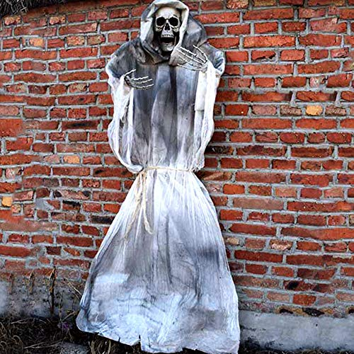 70 Inch Halloween Ghost Decorations Animated Scary Props Life Size Hanging Skeleton Flying Ghost Decor for Yard Outdoor Indoor Party (White)]()
