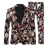 Product review for Mens 2 Piece Suit Notched Lapel Sport Coat Floral One Button Slim Fit Tweed Suit