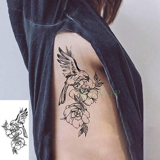 4 Piezas Impermeable Tatuaje Pegatina pájaro ala Flor Tatuaje ...