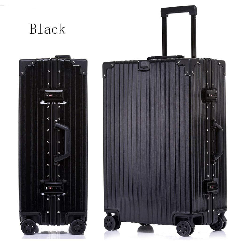 アルミフレームトローリーケースパスワードロックスーツケースユニバーサルホイール荷物のスーツケース (Color : ブラック, Size : 29 inches)   B07R4QFZX6