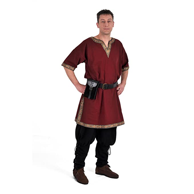 Ropa medieval Hombre - Túnica con ribetes Verus - burdeos - sin cinturón - XXL