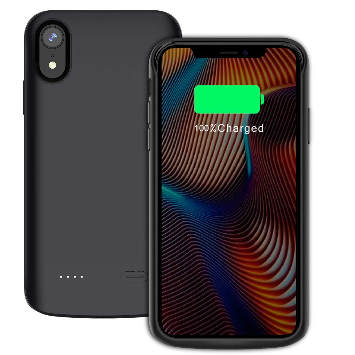 Torubia iPhone Xr 6000mAh Battery Case, Cellphone Case Battery Charger Case Cover, Cellphone Case Battery Charging Case with Cellphone Case Compatible with iPhone Xr 6000mAh