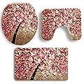 Sothread 3PC/Set Creative Floral Tree Non-Slip Mat Pedestal Rug+Lid Toilet Cover+Bath Mat