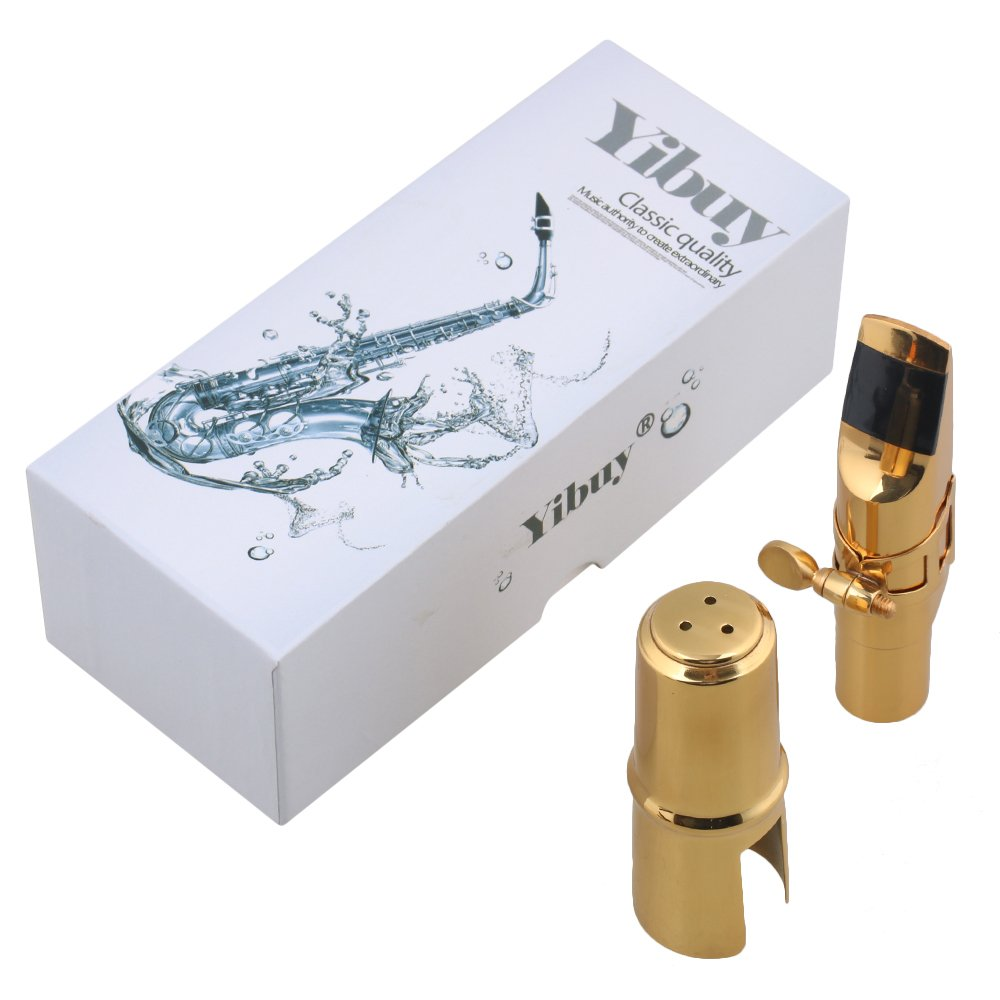Yibuy Gold-plated Copper #6 bE Sax Mouthpiece with Cap + Ligature for Alto Saxophone