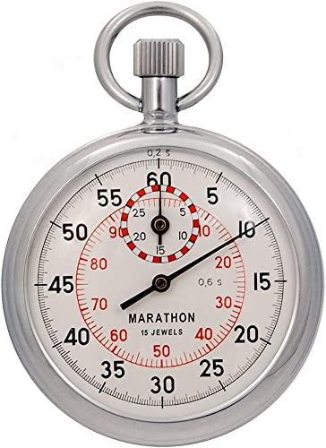 Marathon ST211003 Mechanical Stopwatch. Single Action Wind Up Dual 1 5th'sec. 1 100th min. Graduations . Commercial Grade.