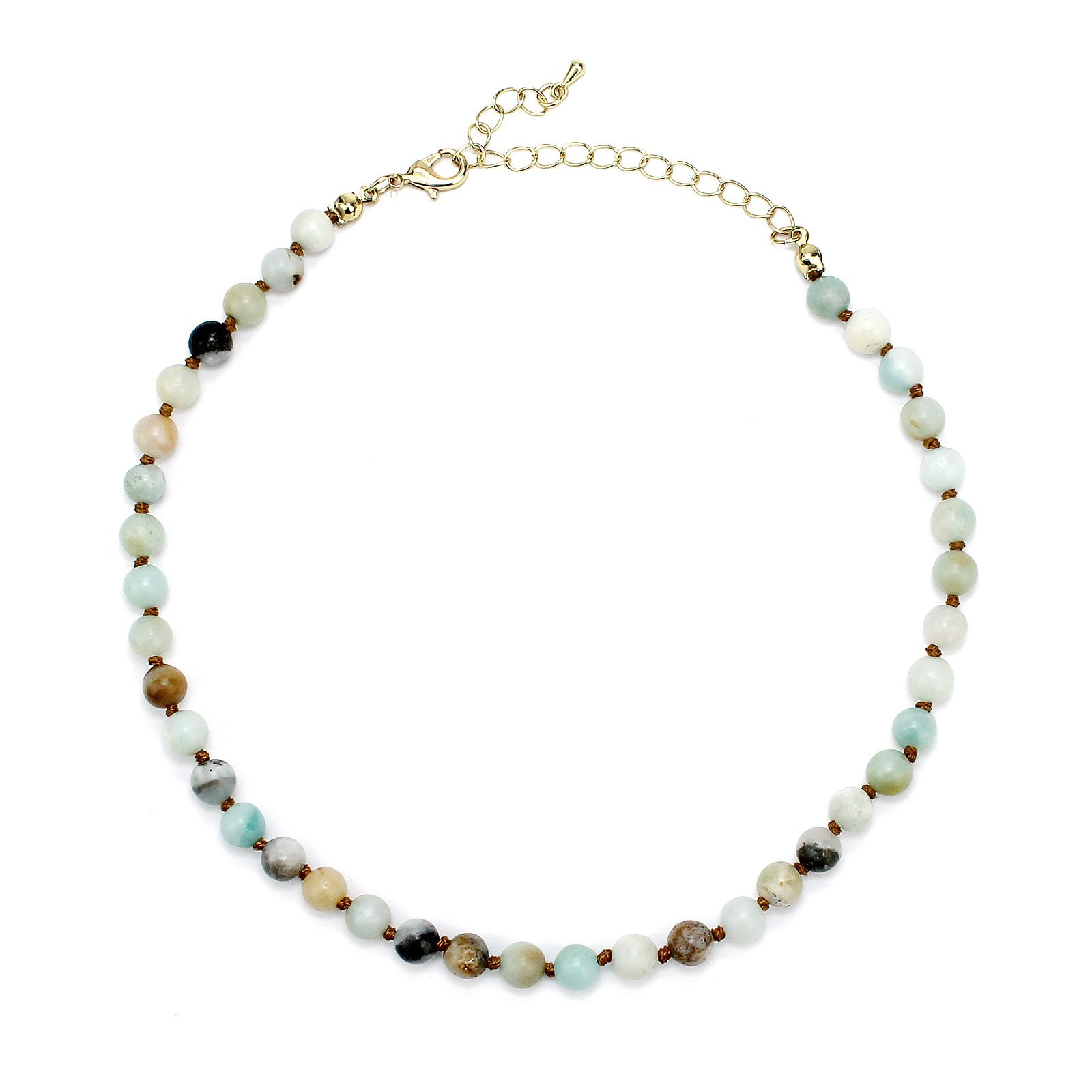 POMINA 6mm Amazonite Semi Precious Stone Beaded Short Necklaces, 16 inches (Amazonite)