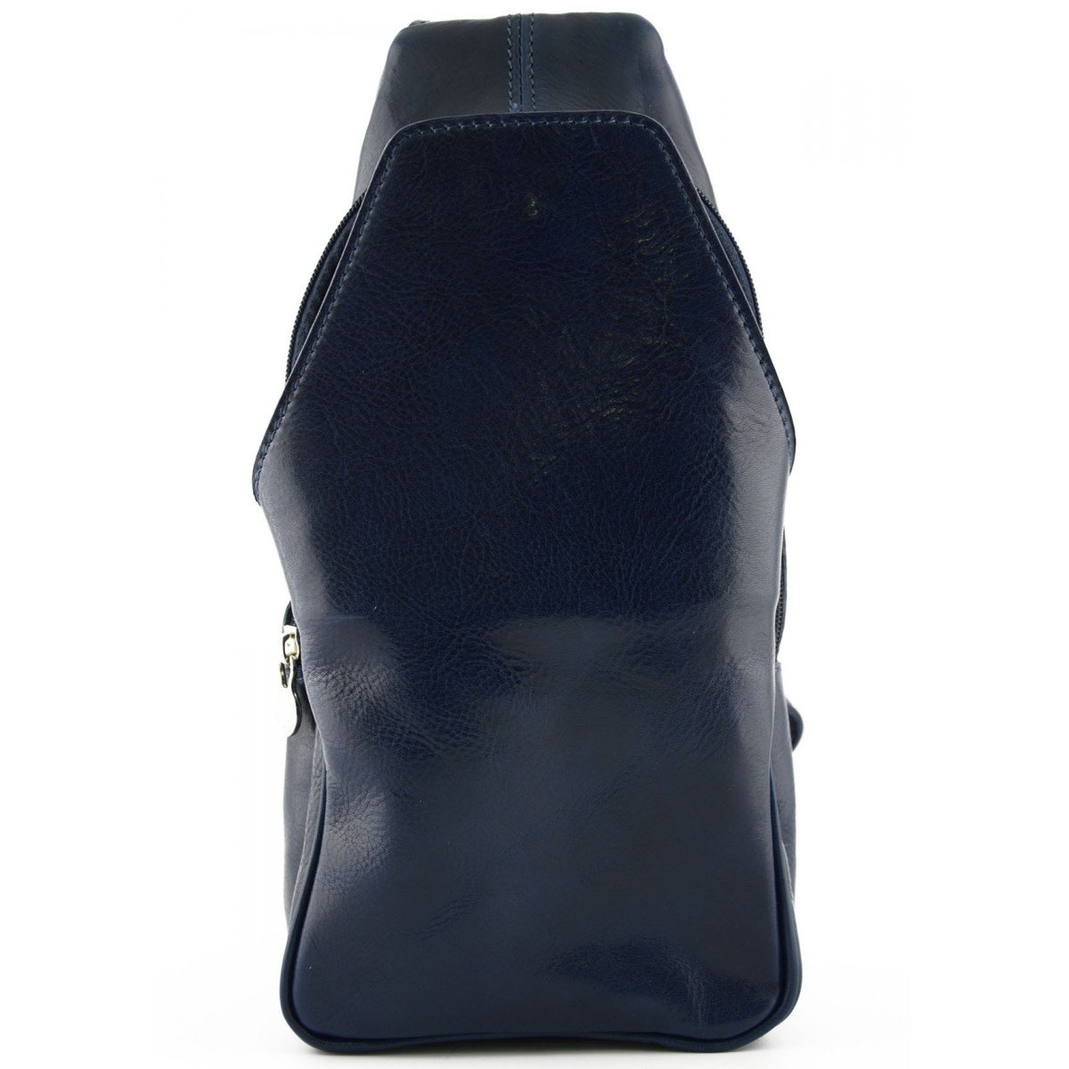 Made In Italy Genuine Leather Mono-Shoulder Backpack With Front Pocket Color Blue - Backpack B01G6CORCW