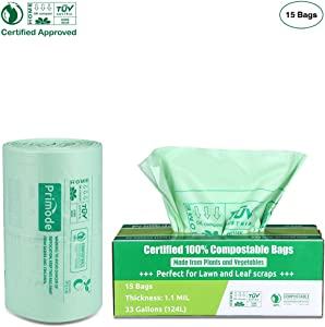 Primode Compostable Bags 33 Gallon, Lawn Leaf Extra Large Trash Bags, 15 Count, 100% ASTMD6400 Certified Biodegradable Compost Bags, Certificated By US BPI And European VINCETTE, Extra Thick 1.1 Mil