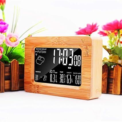 Limeinimukete Reloj de Mesa Digital con indicador LED y termómetro de Madera