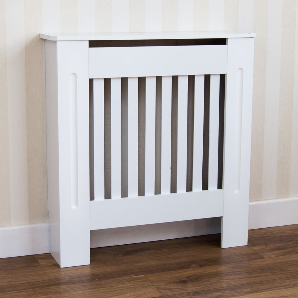 Home Discount Chelsea Radiator Cover Modern Slatted Grill Slats White Painted MDF Cabinet, Small
