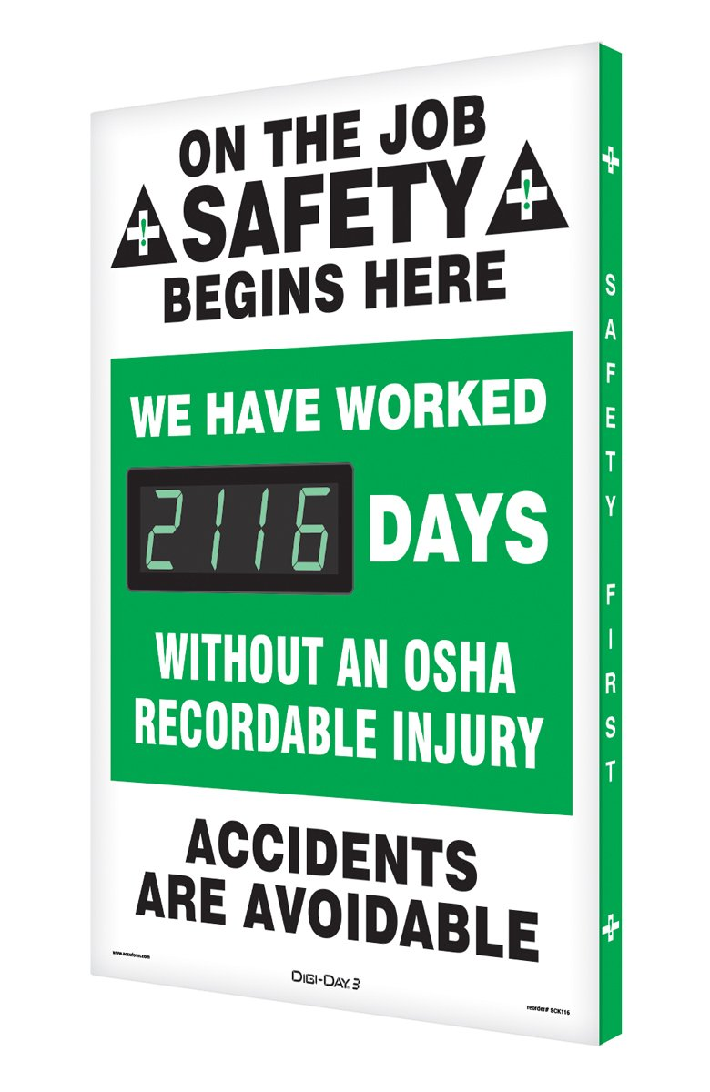 Accuform Digi-Day 3 Electronic Safety Scoreboard,''ON THE JOB SAFETY BEGINS HERE - WE HAVE WORKED #### DAYS WITHOUT AN OSHA RECORDABLE INJURY - ACCIDENTS ARE AVOIDABLE'' (SCK116)