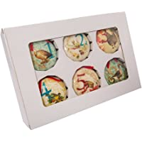 Kurt Adler 85mm Decoupage Ball Ornament Set of 12, 12 Piece
