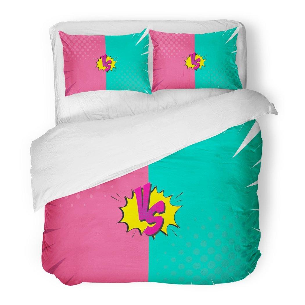 SanChic Duvet Cover Set Game Versus Letters Fight Comics Style Design Compare Sport Boom Decorative Bedding Set 2 Pillow Shams King Size