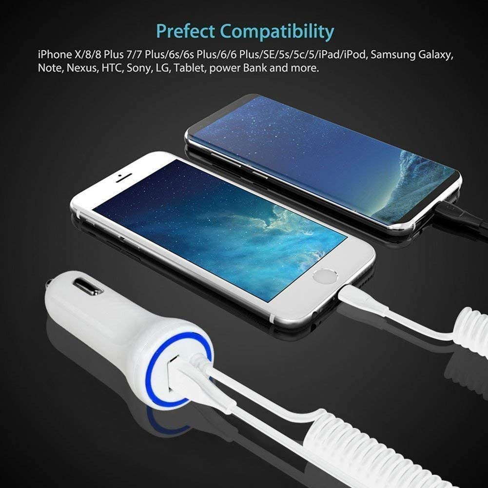 Rapid iPhone Car Charger, 24W/4.8A iPhone Car Charger Adapter with Coiled Cord Compatible iPhone Xs MAX XR X 8 8Plus iPad Samsung Kindle Tablet,with ...