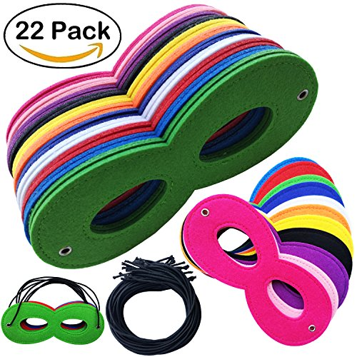 22 Pcs Superhero Masks Super Hero Mask Cosplay Party dress up masquerade Eye Masks Felt Masks with Elastic Rope for Kids Party (Very Easy Halloween Costumes For Guys)