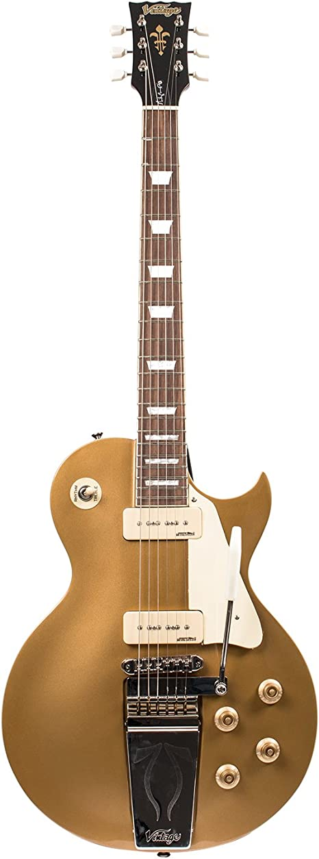 Vintage v100mu Midge Ure Signature Gold guitarra eléctrica: Amazon ...