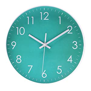 Modern Simple Wall Clock Indoor Non-Ticking Silent Sweep Movement Wall Clock for Office,Bathroom,Livingroom Decorative 10 Inch Teal