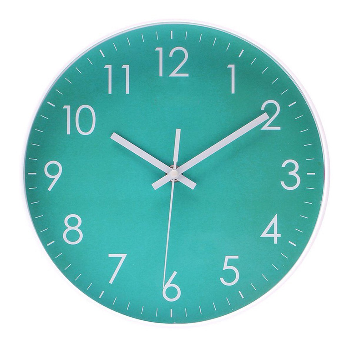 Epy Huts Modern Simple Wall Clock Indoor Non-Ticking Silent Quartz Quiet Sweep Movement Wall Clcok for Office,Bathroom,Livingroom Decorative 10 Inch Teal